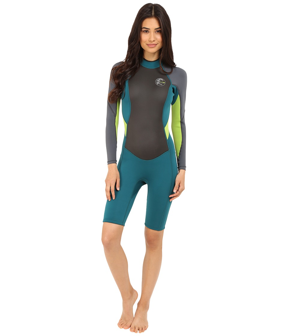 O'Neill - Bahia Long Sleeve Spring (Deep Teal/Graphite/Lime) Women's Wetsuits One Piece
