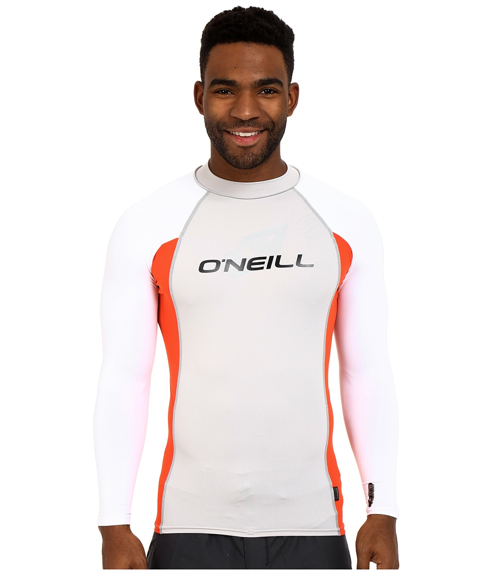 O'Neill - Skins L/S Crew (Lunar/Neon Red/White) Men's Swimwear