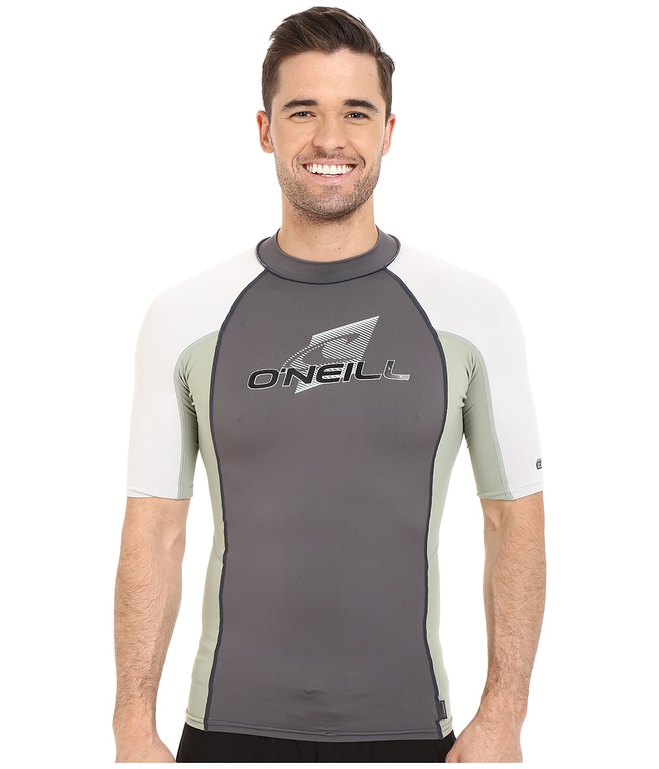 O'Neill - Skins S/S Crew (Graphite/Light Olive/Lunar) Men's Swimwear