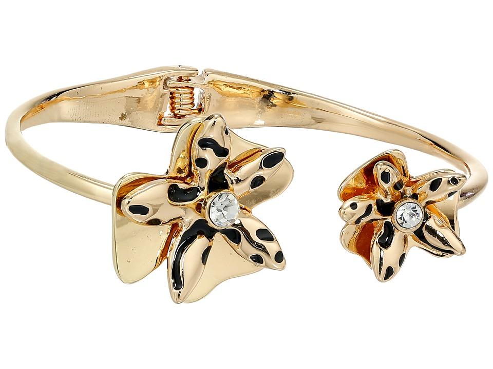 GUESS - Sculted Flower Bypass Hinge Bracelet (Gold/Jet) Bracelet