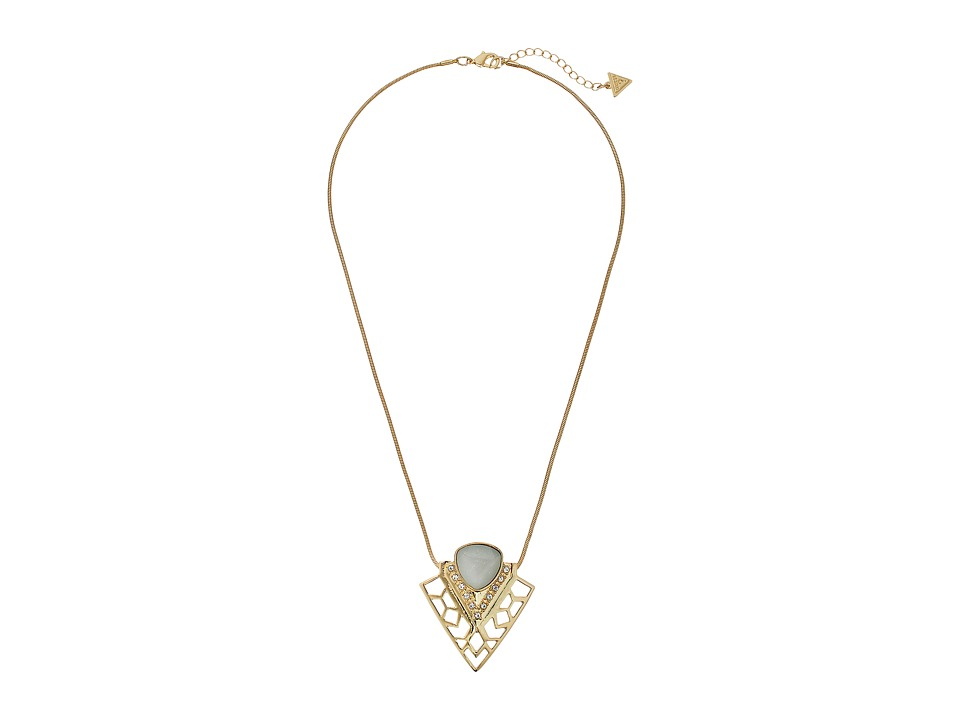 GUESS - Triangle Stone Pendant Necklace (Gold/Crystal/Mint) Necklace