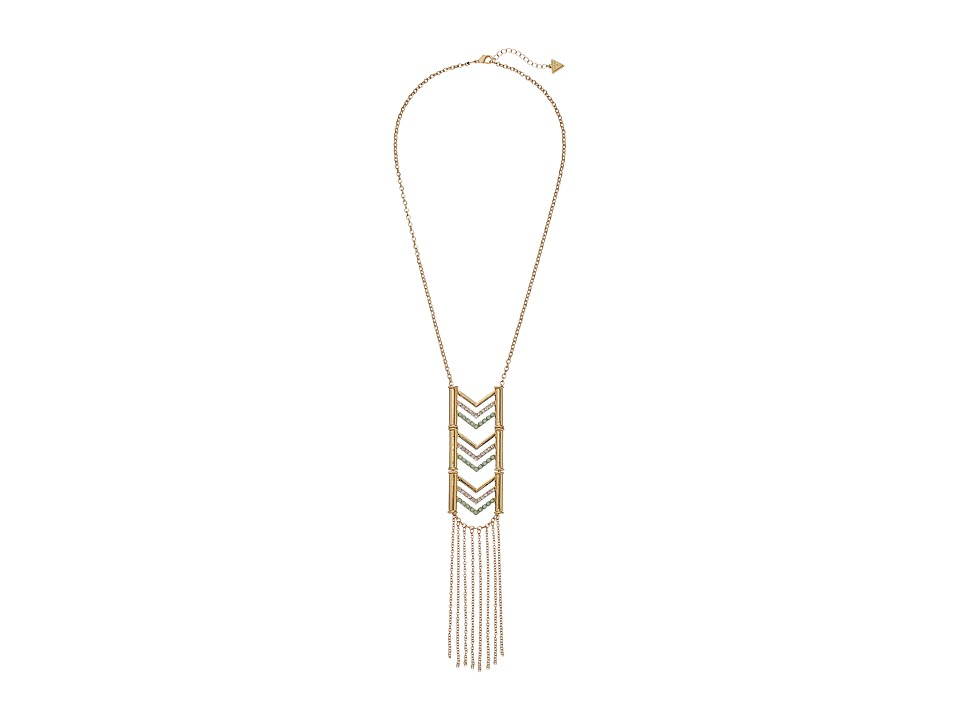 GUESS - Chevron with Fringe Pendant Necklace (Gold/Crystal/Mint) Necklace