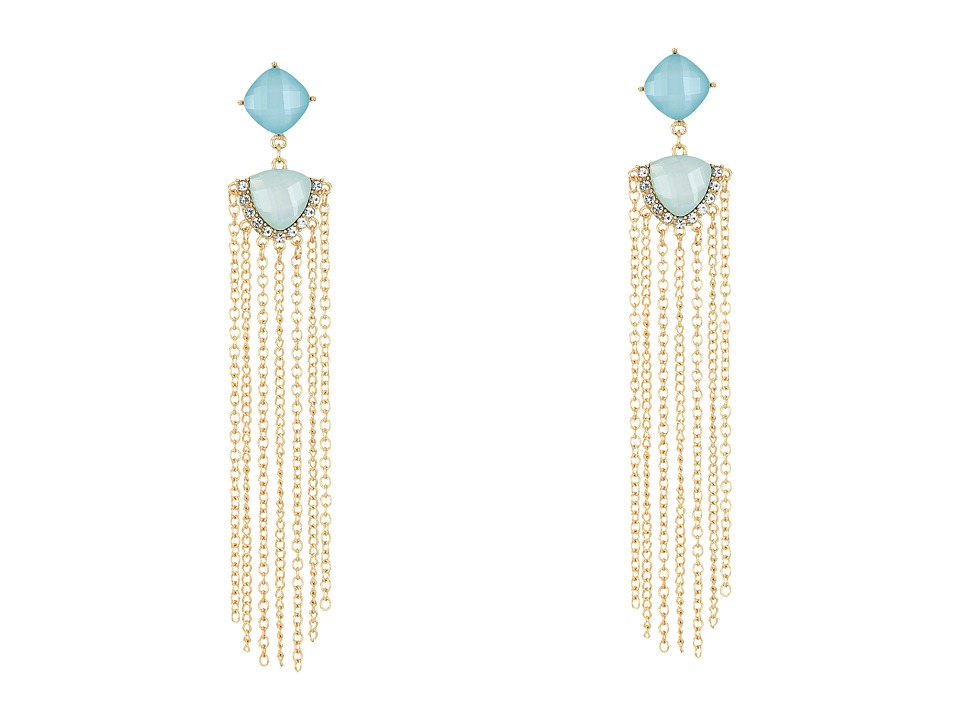 GUESS - Stone Drop with Chain Fringe Earrings (Gold/Crystal/Mint) Earring