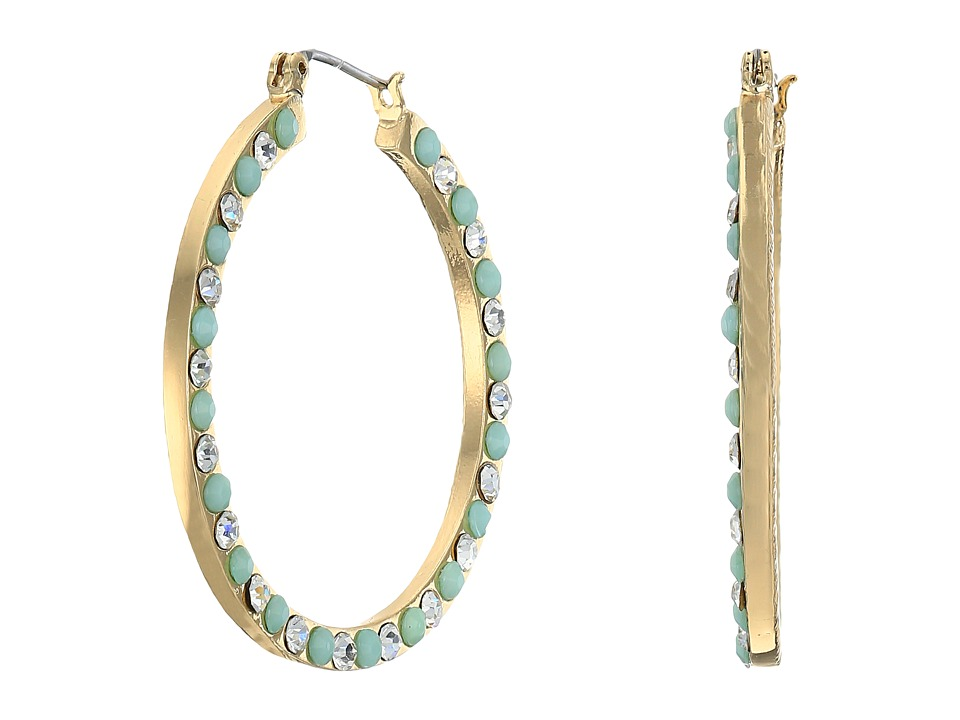 GUESS - Stone Hoop Earrings (Gold/Crystal/Mint) Earring