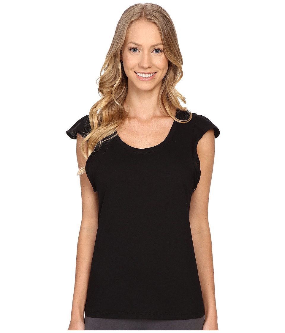 Jockey - Flutter Sleeve Short Sleeve Top (Black) Women's Pajama