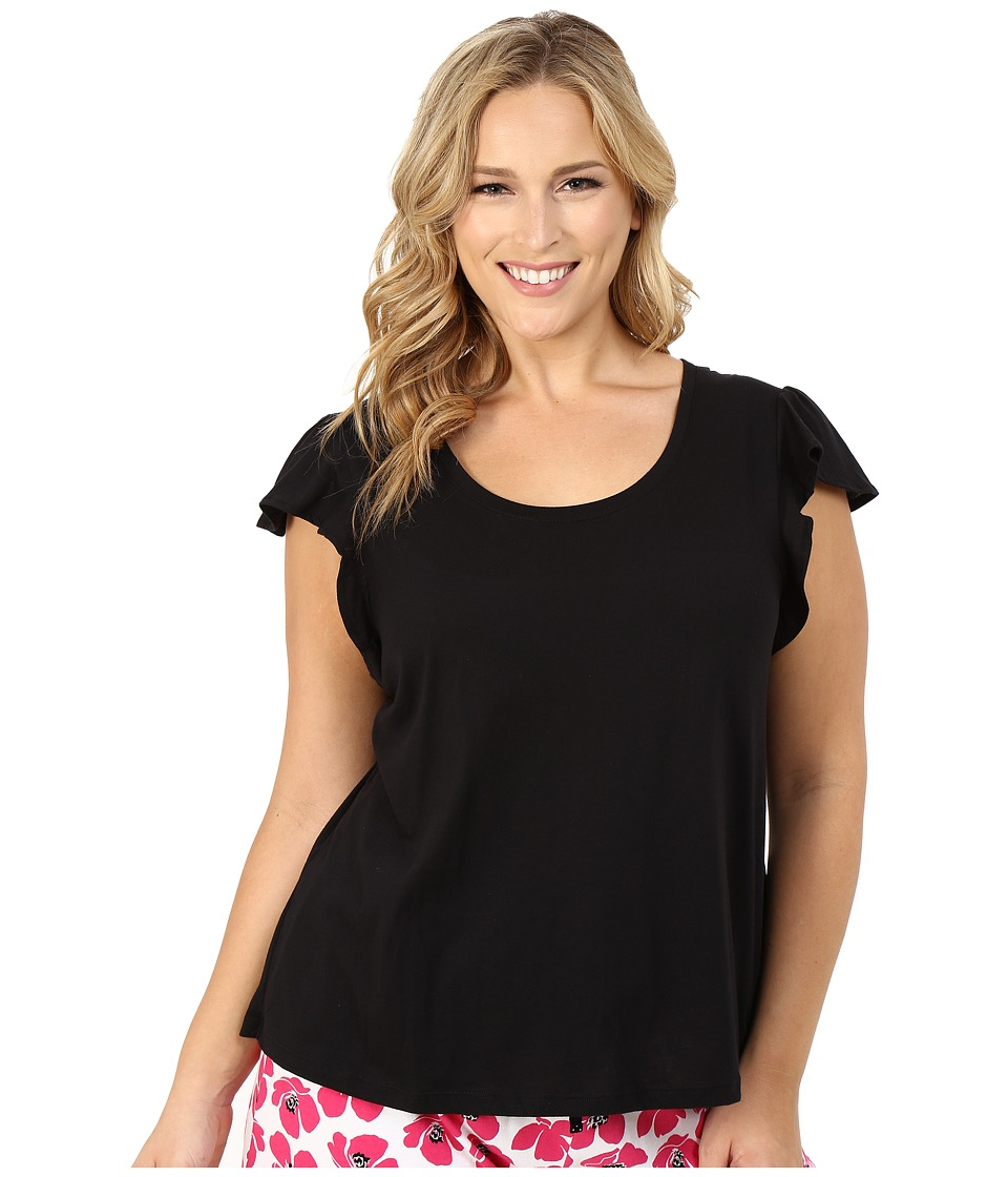 Jockey - Plus Size Flutter Sleeve Short Sleeve Top (Black) Women's Pajama