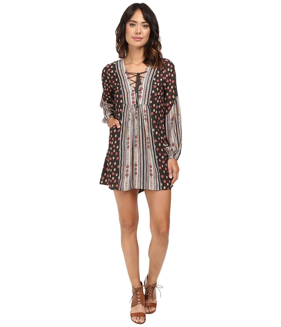 Free People - Rain or Shine Printed Dress (Black) Women's Dress