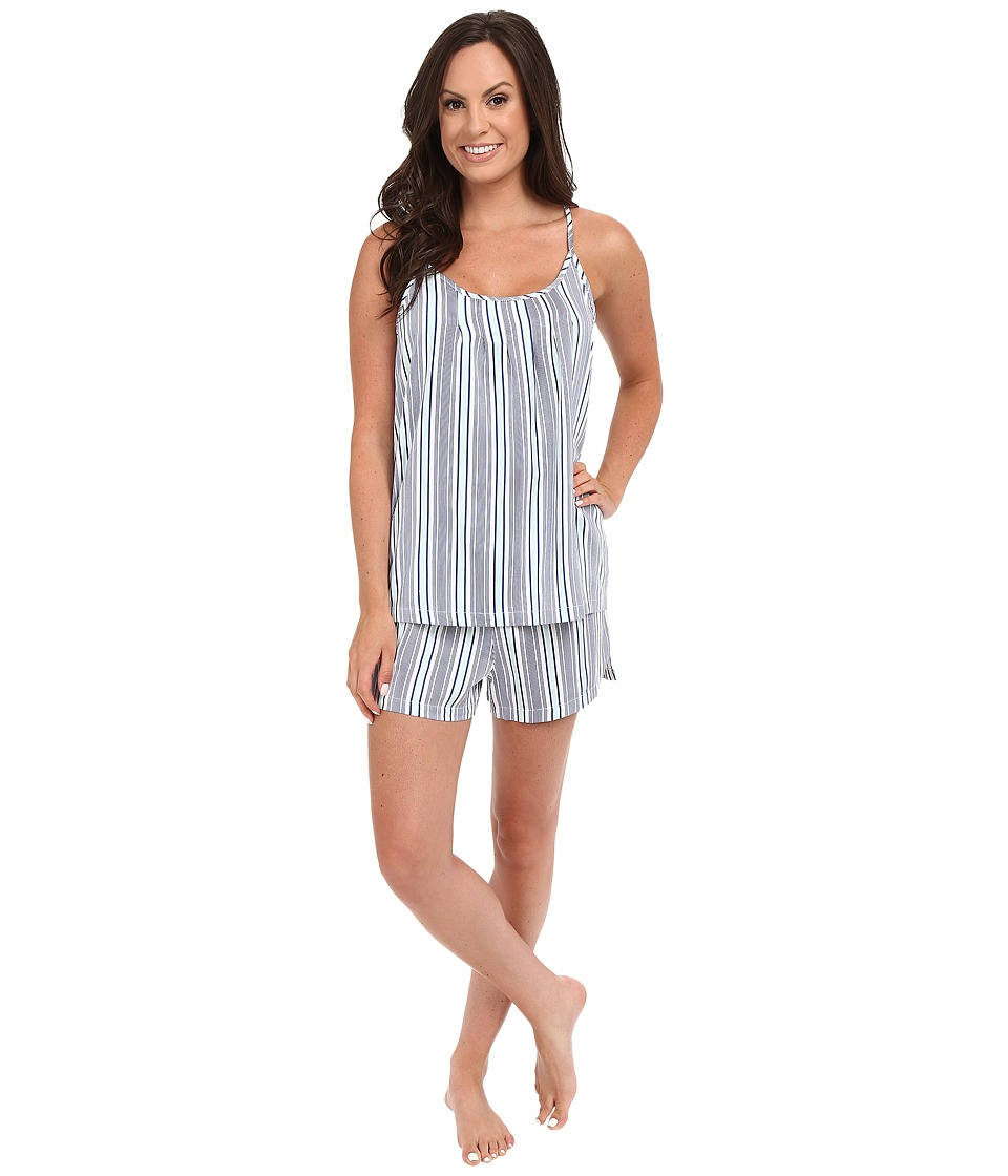 Jockey - Cotton Sateen Tank Top with Boxer Pajama Set (Woven Stripe) Women's Pajama Sets