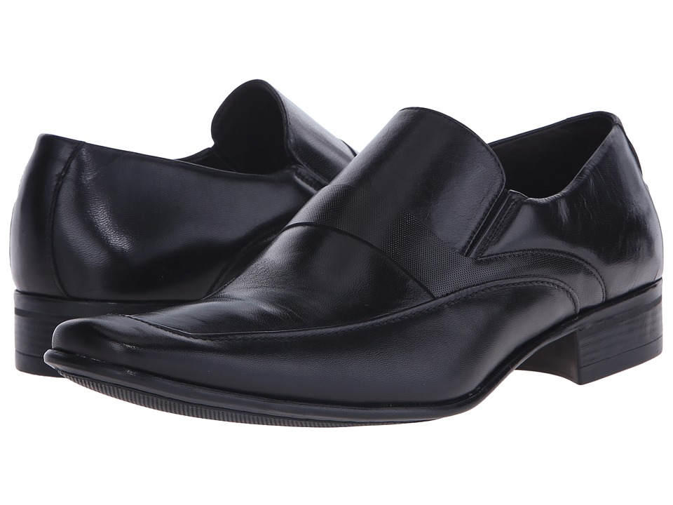 Massimo Matteo - Mocc with Leather Strap (Black) Men's Slip-on Dress Shoes