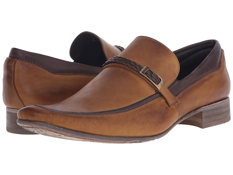 Massimo Matteo - Braided Leather Mocc with Bit (Caramelo) Men's Slip-on Dress Shoes