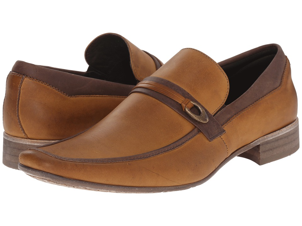 Massimo Matteo - Mocc with Buckle Strap (Caramelo) Men's Slip-on Dress Shoes