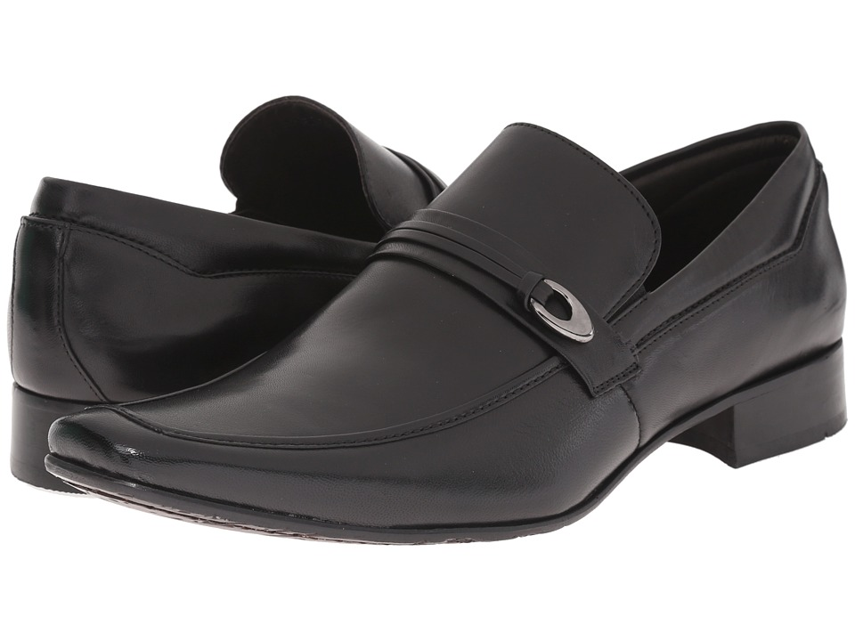 Massimo Matteo - Mocc with Buckle Strap (Black) Men's Slip-on Dress Shoes