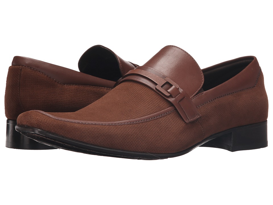 Massimo Matteo - Perf Mocc with Leather Bit (Malbec) Men's Slip-on Dress Shoes
