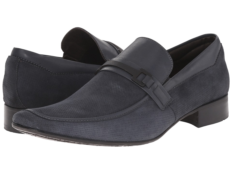 Massimo Matteo - Perf Mocc with Leather Bit (Marinho) Men's Slip-on Dress Shoes