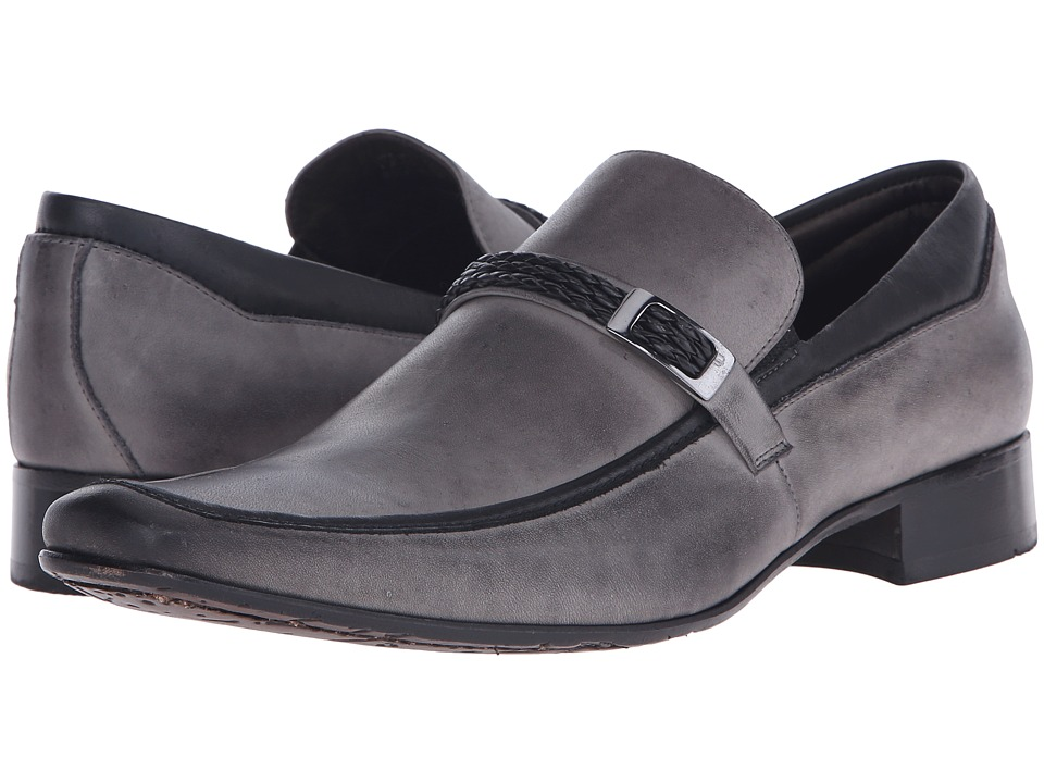 Massimo Matteo - Braided Leather Mocc with Bit (Concreto) Men's Slip-on Dress Shoes
