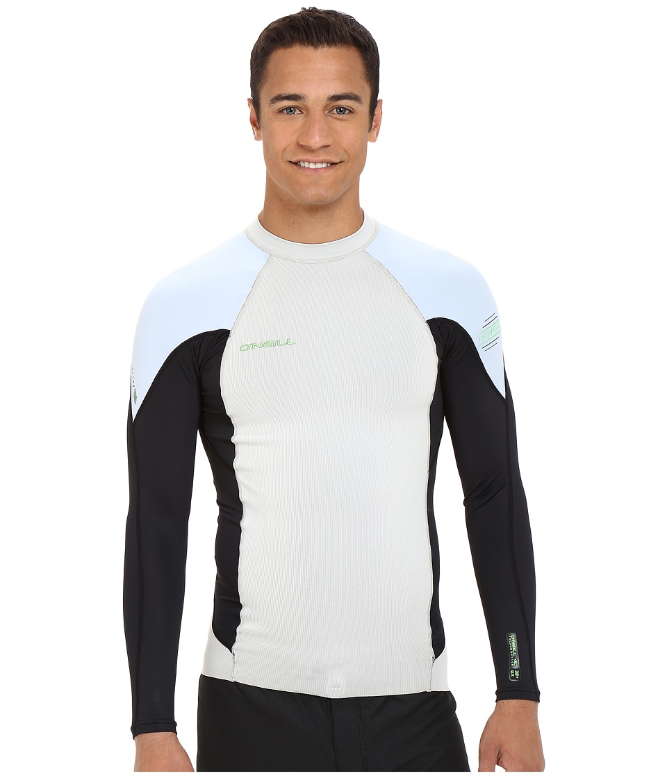 O'Neill - Hyperfreak Neo/Skins Long Sleeve Crew (Lunar/Black/Fog Blue) Men's Swimwear
