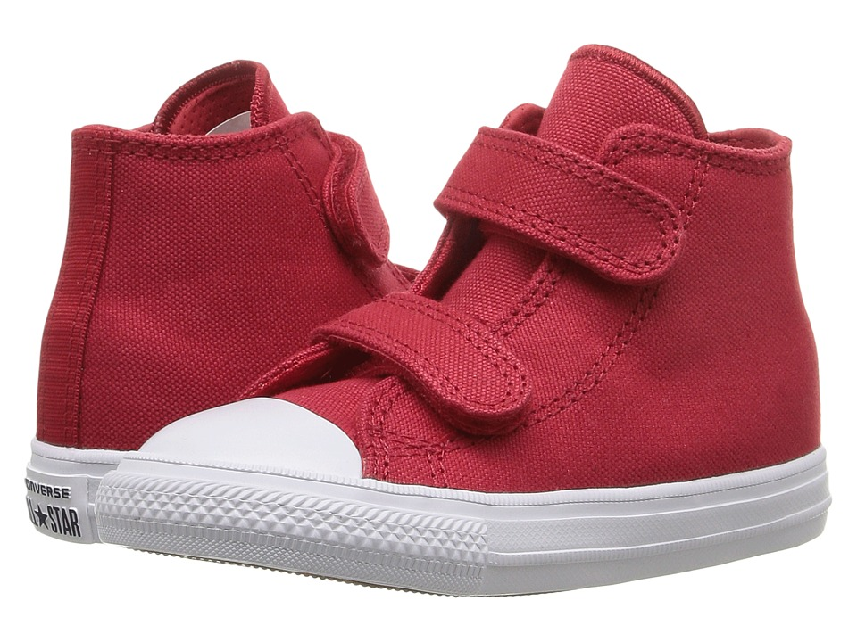 Converse Kids - Chuck II Hi 2V (Infant/Toddler) (Salsa Red/White/Navy) Kid's Shoes