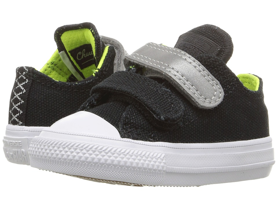 Converse Kids - Shield Canvas Chuck II Ox 2V (Infant/Toddler) (Black/Reflective/Volt) Boy's Shoes