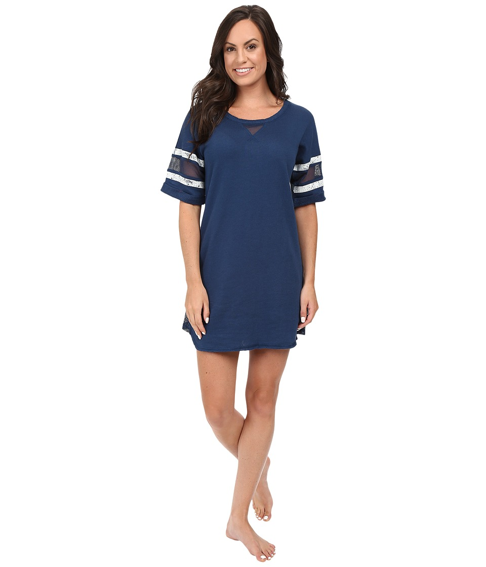 Jane & Bleecker - French Terry Lounger w/ Mesh Detail (Medium Navy/Marshmallow Cream) Women's Pajama