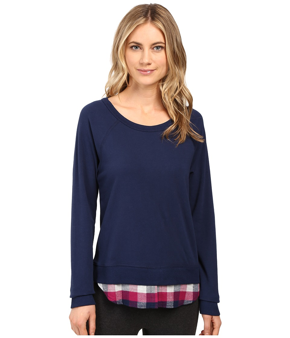 Jane & Bleecker - Brushed Jersey and Twill Pullover (Midnight Blue/Maple Plaid) Women's Pajama