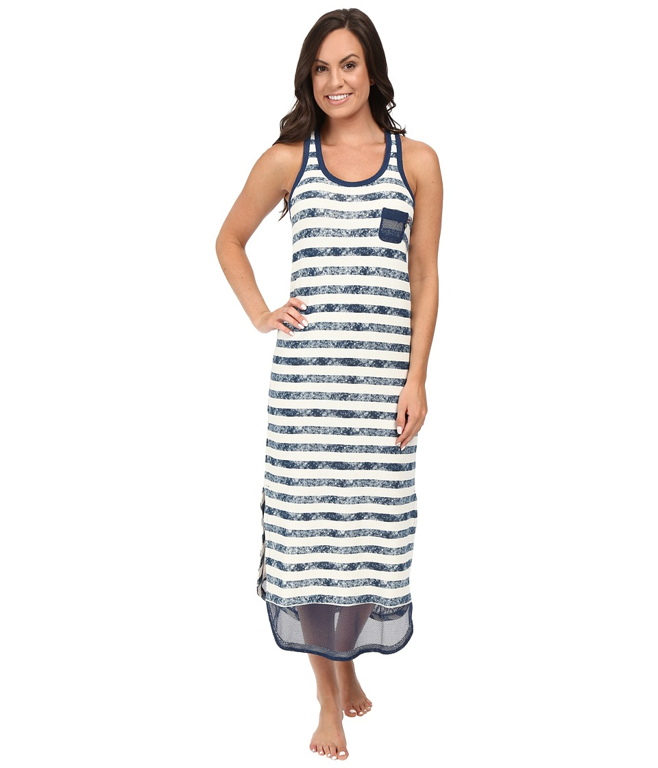 Jane & Bleecker - French Terry Tank Gown (All Over Distressed Stripe Navy) Women's Pajama