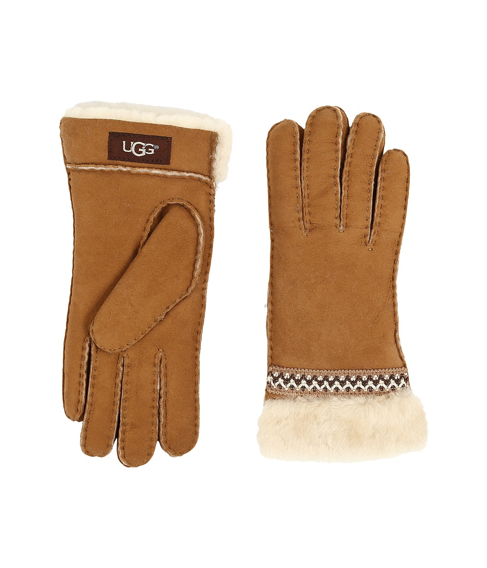 UGG - Classic Tasman Tape Gloves (Chestnut) Extreme Cold Weather Gloves