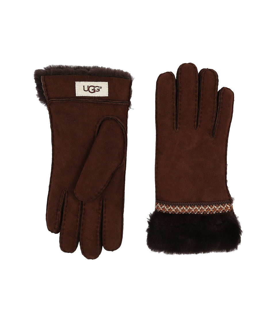 UGG - Classic Tasman Tape Gloves (Chocolate) Extreme Cold Weather Gloves