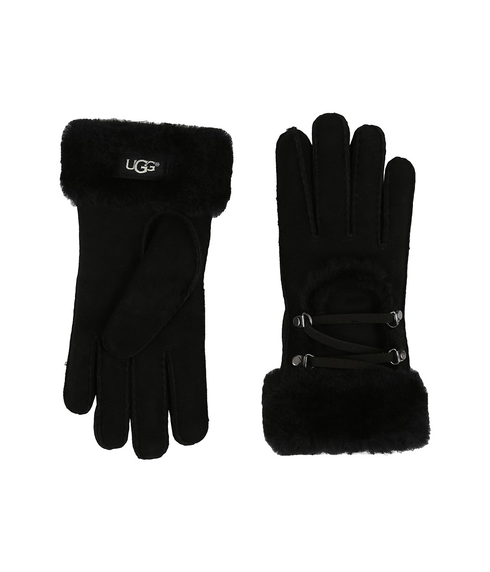 UGG - Lace Up Gloves (Black) Extreme Cold Weather Gloves