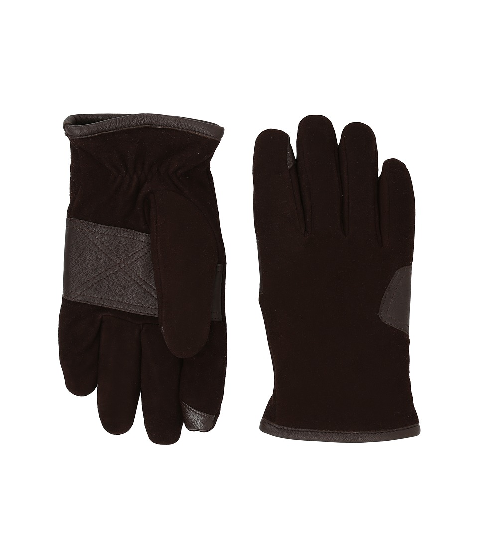 UGG - Suede Smart Gloves/Debossed Logo Patch (Brown) Extreme Cold Weather Gloves