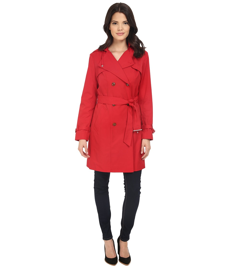 Cole Haan - Double Breasted Trench Coat w/ Printed Lining (Crimson) Women's Coat