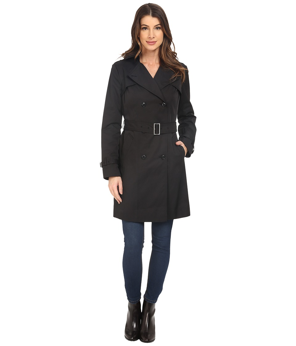 Cole Haan - Double Breasted Trench Coat w/ Printed Lining (Black) Women's Coat