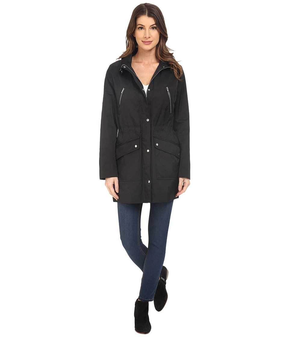 Cole Haan - Anorak with Removable Hood and Adjustable Waist (Black) Women's Coat