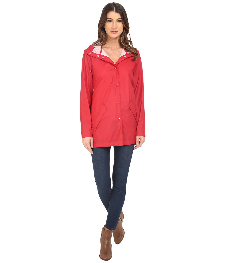 Cole Haan - Water Repellent Hooded Parka Raincoat (Fiery Red) Women's Coat