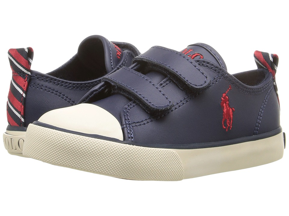 Polo Ralph Lauren Kids - Falmuth Low EZ (Toddler) (Navy Leather/Pach Collage) Kid's Shoes