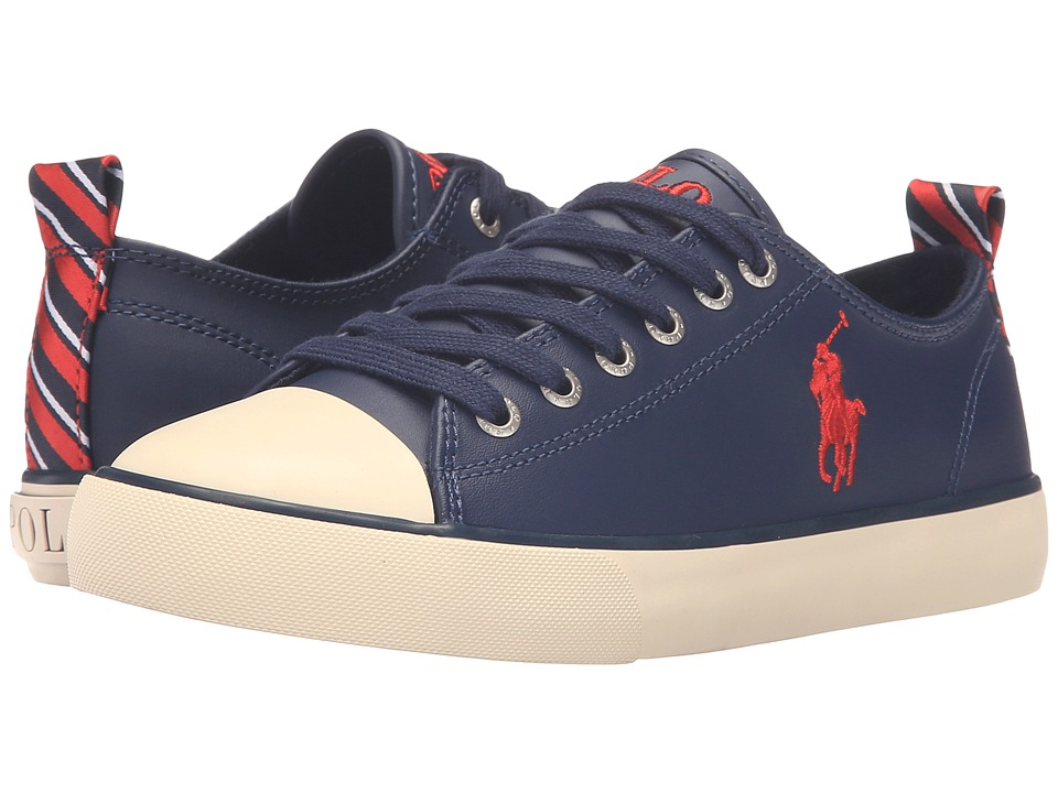 Polo Ralph Lauren Kids - Falmuth Low (Big Kid) (Navy Leather/Patch Collage) Kid's Shoes