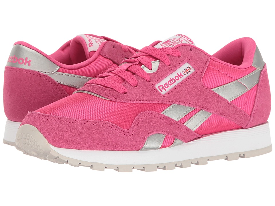 Reebok Kids - Classic Nylon (Big Kid) (Rose Rage/White/Silver/Steel) Girls Shoes