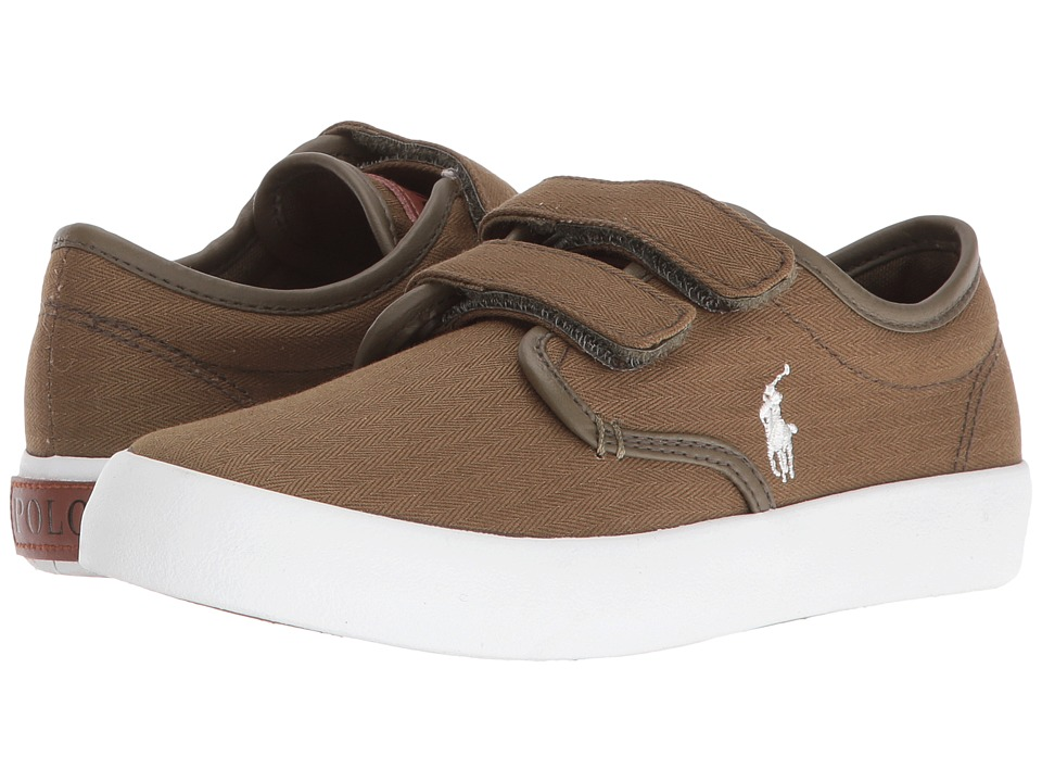 Polo Ralph Lauren Kids - Waylon EZ (Little Kid) (Olive Herringbone Twill/Cream Pony Player) Boy's Shoes