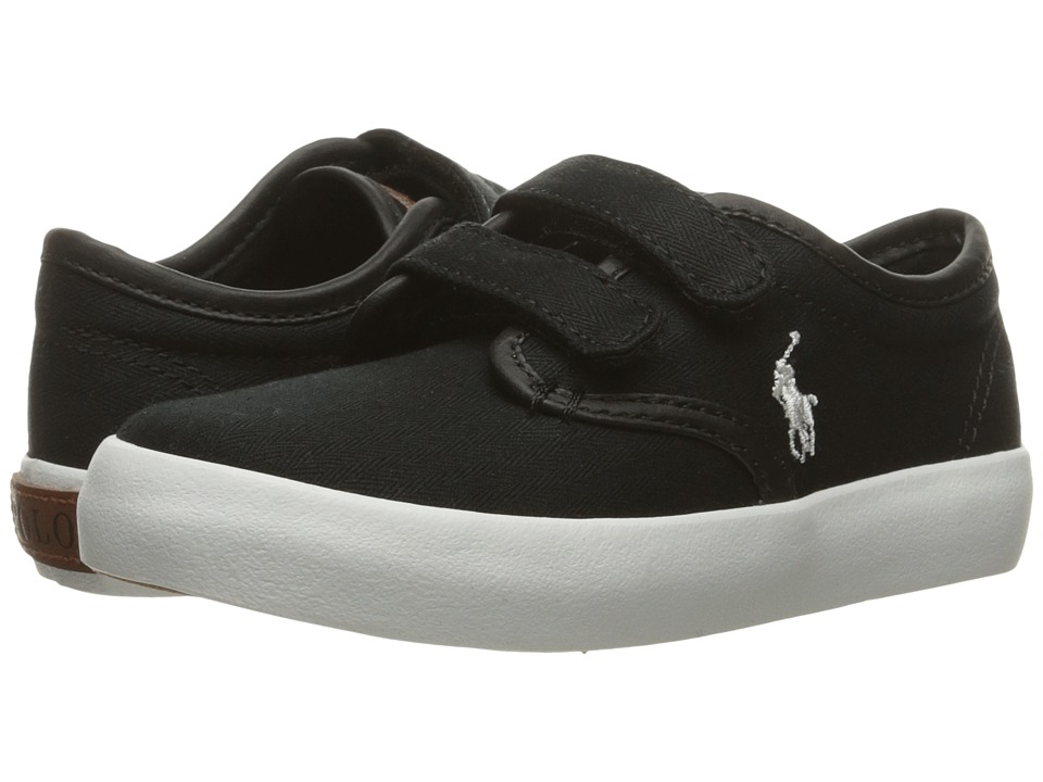 Polo Ralph Lauren Kids - Waylon EZ (Little Kid) (Black Herringbone Twill/Cream Pony Player) Boy's Shoes