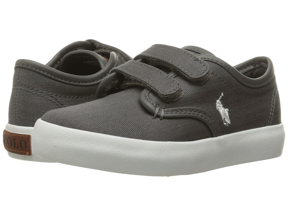 Polo Ralph Lauren Kids - Waylon EZ (Little Kid) (Grey Herringbone Twill/Cream Pony Player) Boy's Shoes