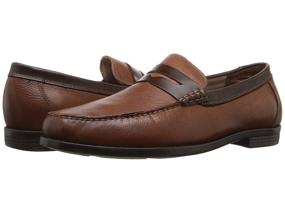 Florsheim - Cricket Penny (Cognac Milled/Brown Smooth) Men's Slip-on Dress Shoes