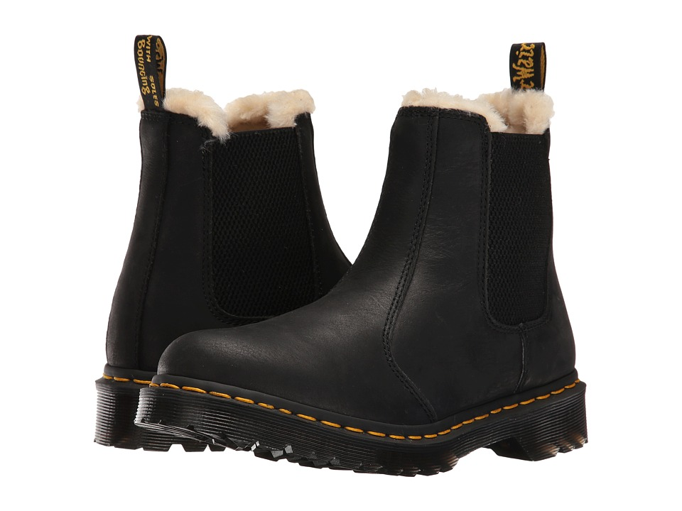 Dr. Martens - Leonore (Black Burnished Wyoming) Women's Pull-on Boots