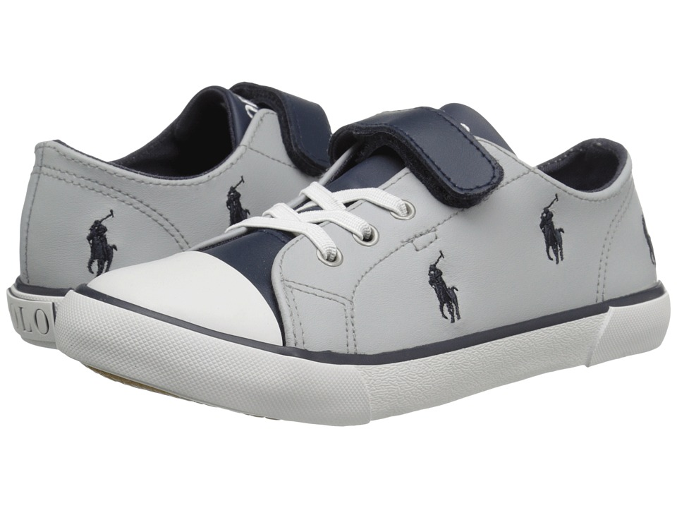 Polo Ralph Lauren Kids Kody (Toddler) (Grey/Navy Colorblock Leather/Navy  Pony Player) Boy's Shoes