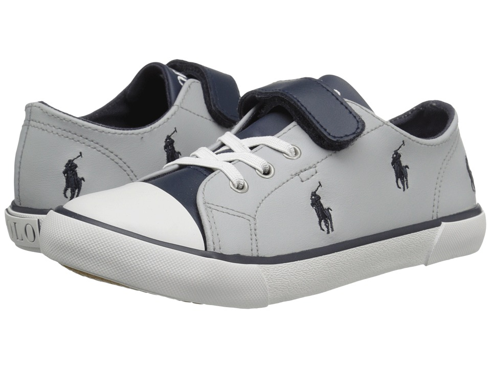 Polo Ralph Lauren Kids - Kody (Little Kid) (Grey/Navy Colorblock Leather/Navy Pony Player) Boy's Shoes