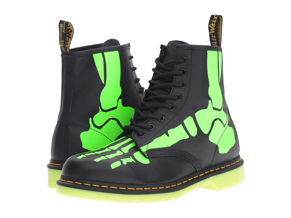 Dr. Martens - Skelly 8-Eye Boot (Black Softy T/Glow In The Dark Print) Lace-up Boots