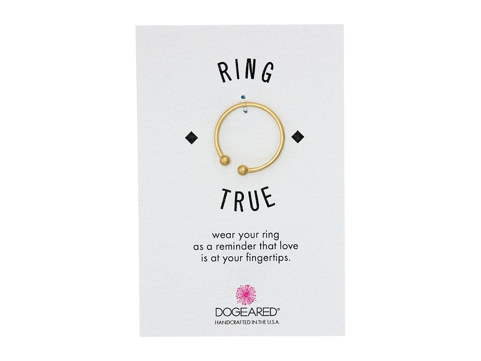 Dogeared - Small Double Ball Open Ring (Gold Dipped) Ring