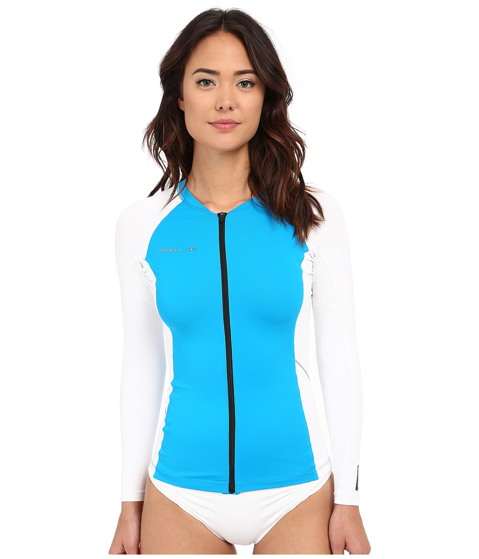 O'Neill - Skins Stitchless Long Sleeve Full Zip (Sky/White) Women's Swimwear