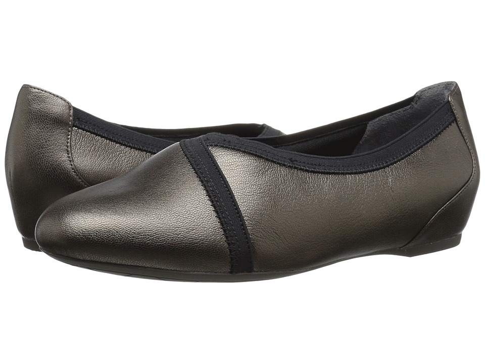 Rockport - Total Motion Envelope Flat (Misty Alloy Leather) Women's Slip on Shoes
