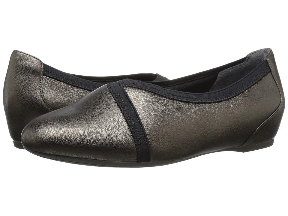 Rockport - Total Motion Envelope Flat (Misty Alloy Leather) Women's Slip on Shoes
