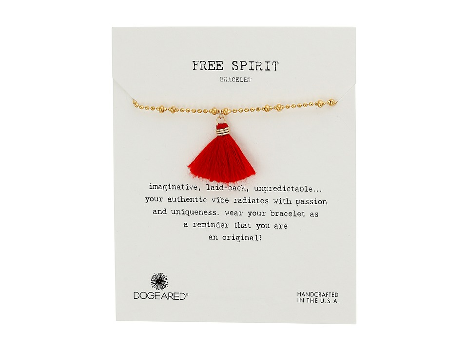 Dogeared - Free Spirit Faceted Ball Chain and Tassel Bracelet (Gold/Red) Bracelet