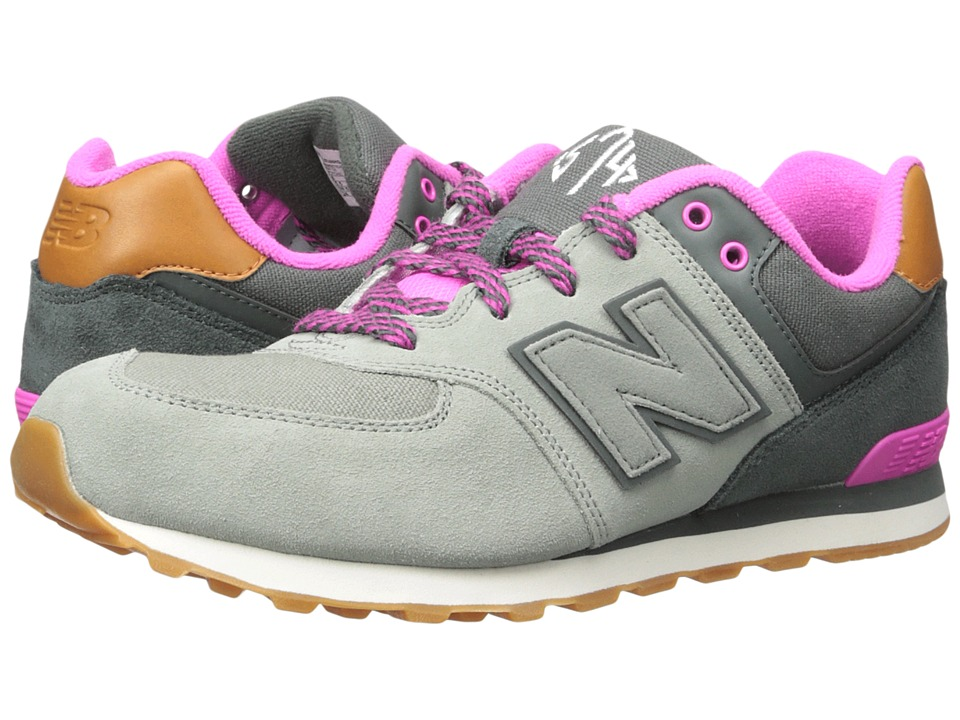 New Balance Kids 574 (Big Kid) (Grey/Pink 2) Girls Shoes